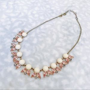 J. Crew Statement Necklace Ivory Pink Drop Chain